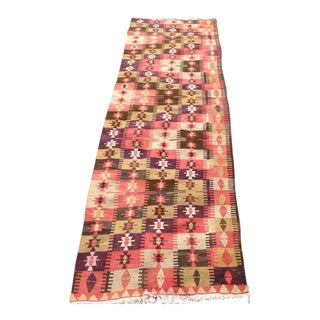 Vintage Turkish Kilim Runner - 3′1″ × 10′7″