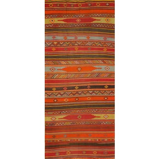"Vintage Multi-Color Turkish Kilim Rug - 5'7""x12'6"""