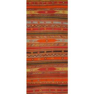 """Vintage Multi-Color Turkish Kilim Rug - 5'7""""x12'6"""""""