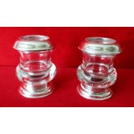 Image of Vintage Silver & Glass Mini-Urn Vases - A Pair