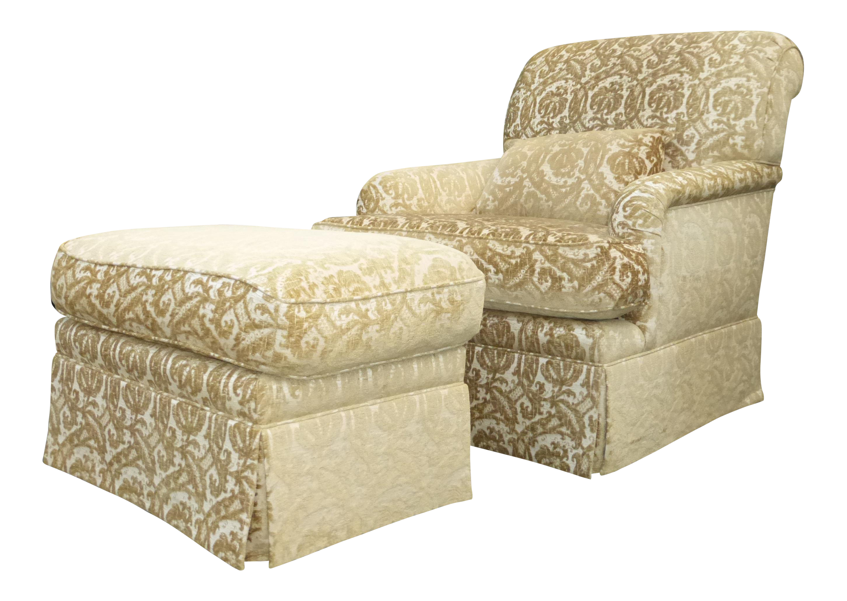 Attractive French Country Gold U0026 White Velvet Arm Chair U0026 Ottoman   Image ...