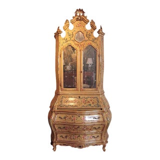 Early 20th Century Italian Venetian Painted & Gold Leaf Bombe Secretary