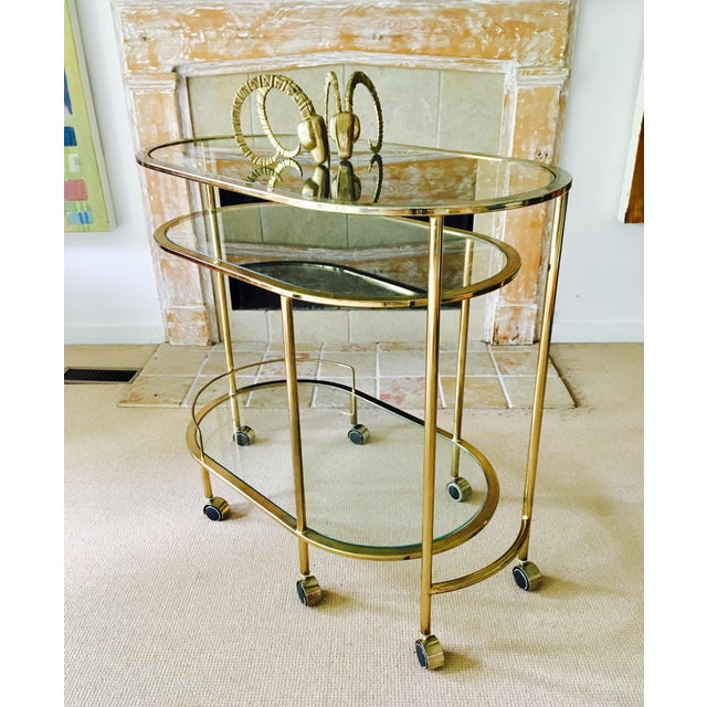 Vintage Triple Tiered Brass Swivel Bar Cart - Image 4 of 11