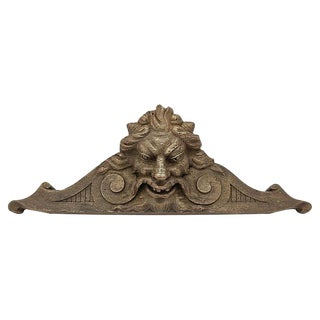 Antique Hand Carved French Lion Pediment