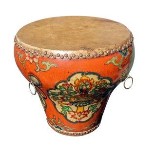 Chinese Tibetan Orange Floral Graphic Drum Table