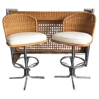 Chrome & Rattan Bar Set - Set of 3