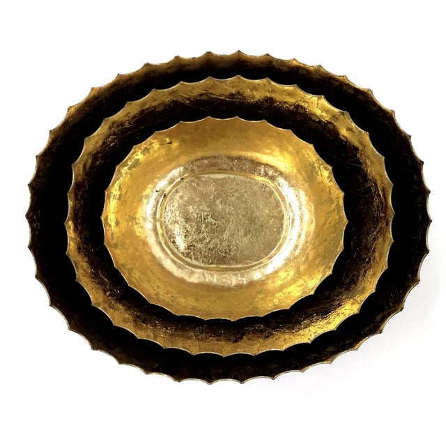 Hammered Iron Bowl With Gilt Gold - Set of 3 - Image 6 of 7