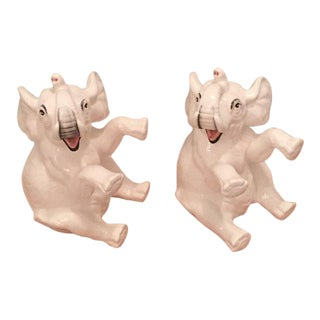 Fitz & Floyd Elephant Ceramic Bookends - A Pair