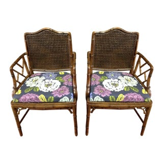 Faux Bamboo and Cane Chippendale Arm Chairs