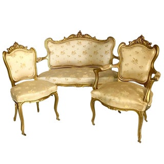 Antique French Louis XV Style Carved Gold Gilt Rolling Parlor Set - 3 Pieces