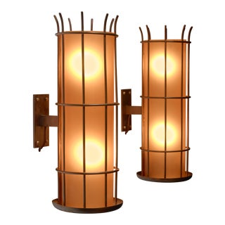 Pair of Art Deco brass and orange glass wall lamps, Sweden, 1930s