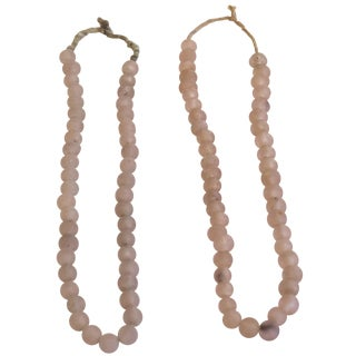 Blush Recycled Glass Beads - A Pair