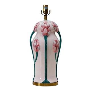 Chapman Art Nouveau Chinoiserie Lotus Blossom Pink Lamp
