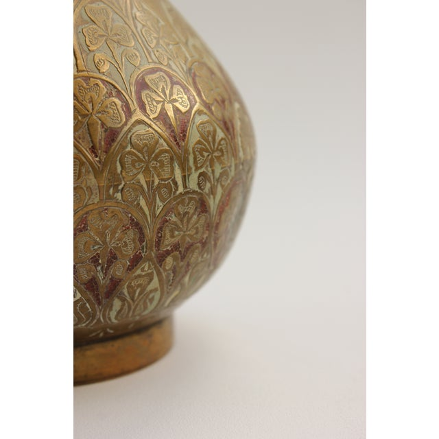 Image of Vintage Etched Brass & Enamel Vases - A Pair