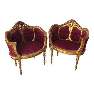 Red Velvet Tufted Chairs - A Pair