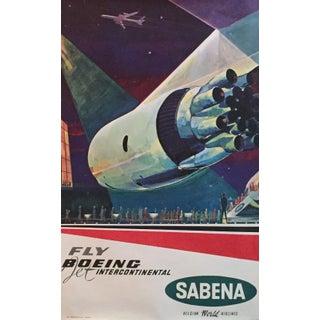 1960s Original Vintage Travel Poster, Boeing for Sabena