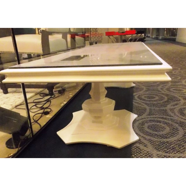 White Vintage Coffee Table With Mirrored Top Chairish
