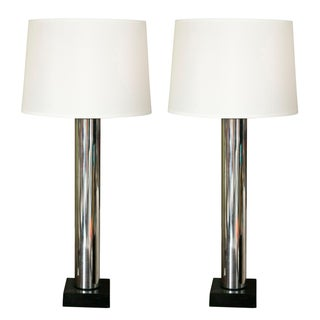 "Mid-Century Chrome ""Lipstick Tube"" Lamps - A Pair"
