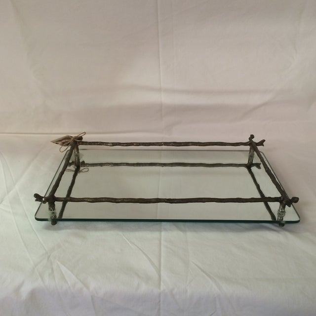 Mirrored Silver Faux Bois Tray - Image 2 of 6