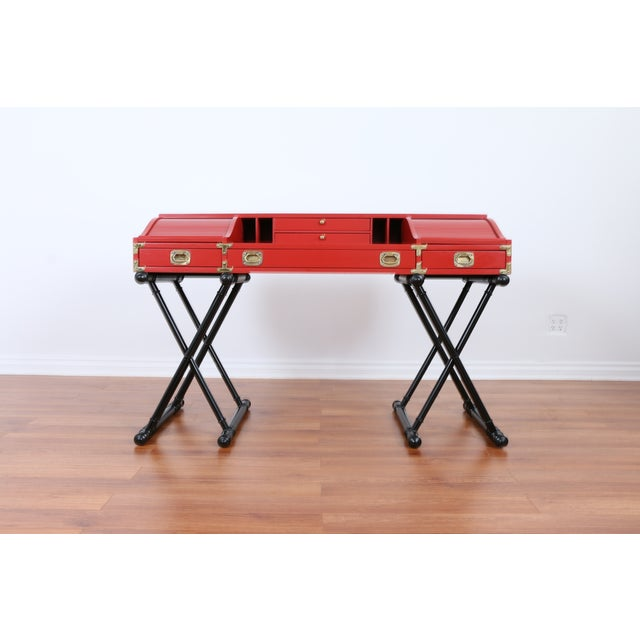 Image of Red Hollywood Regency Campaign Executive Desk