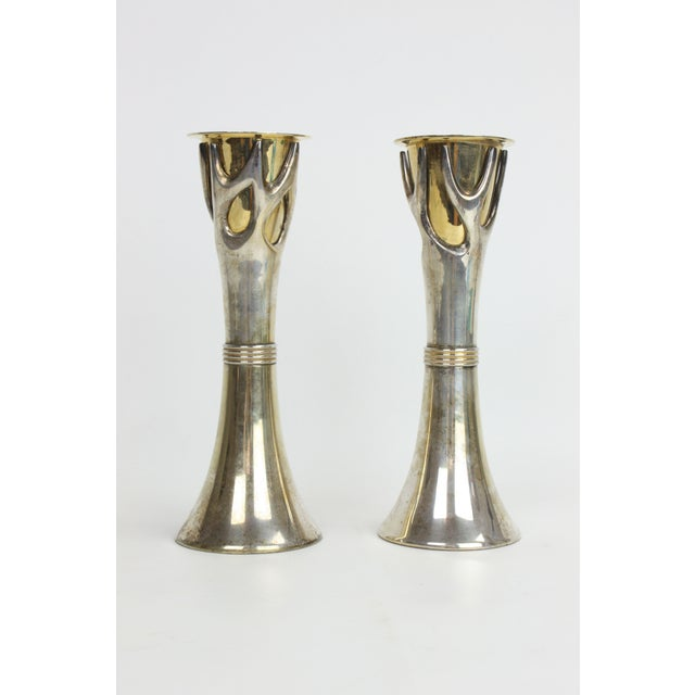 "2 Brass & Silverplate ""Tree of Life"" Candleholders - Image 2 of 4"
