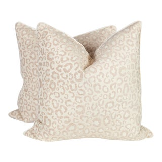 Cream & Ivory Leopard Pillows - A Pair