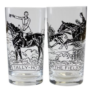 "Paul Desmond Brown ""Tally Ho"" & ""The Field"" Highball Glasses - A Pair"