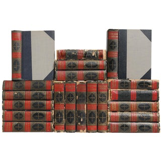 Distressed Dickens Library: Navy & Crimson Book Collection - Set of 20