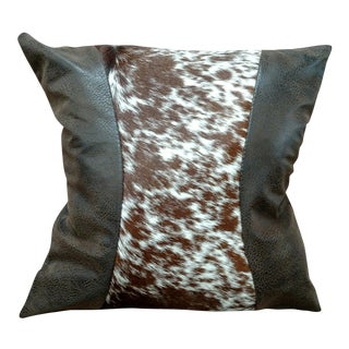Brown Leather & Cowhide Pillow