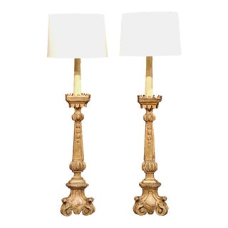 18th Century French Carved Candlestick Floor Lamps with Gilt Finish - A Pair