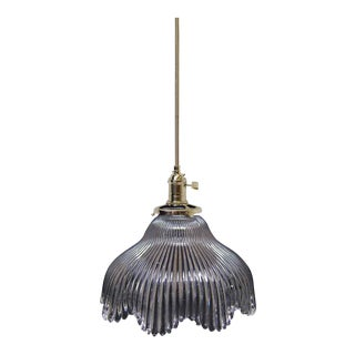 Antique 8 In. Clear Glass Holophane Pendant Light