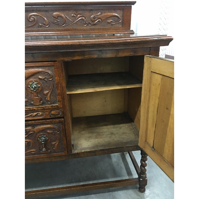 Antique Carved Wood Buffet - Image 6 of 10