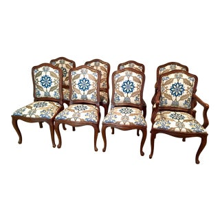 Floral Crewel Work Upholstered Dining Chairs - Set of 8