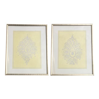 Yellow & Grey Damask Framed Artwork - A Pair
