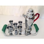 Image of Chrome Cocktail Service Tray Shaker Glasses