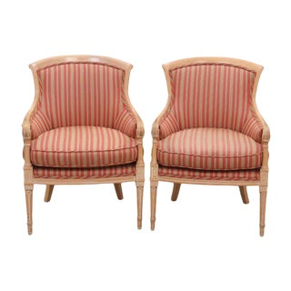 Louis XVI Style Striped Bergeres, Pair