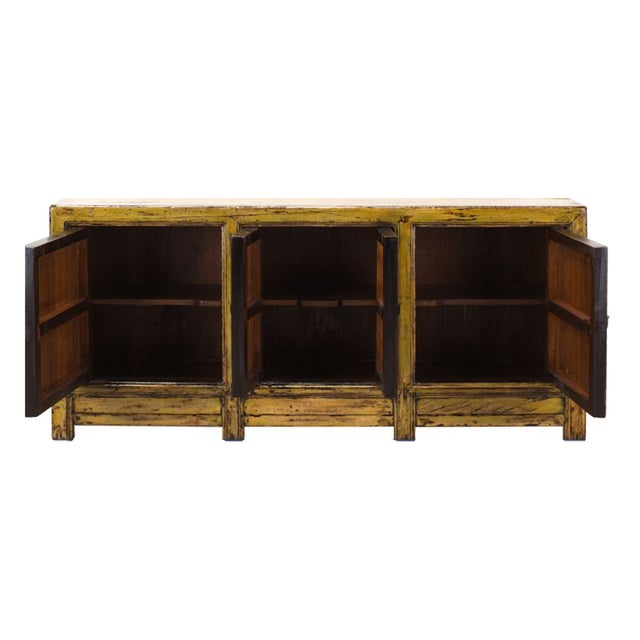 Yellow & Green Floral Sideboard or Buffet Table - Image 3 of 5
