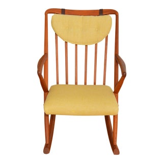 Danish Teak Rocking Chair in Maharam Hallingdal Wool