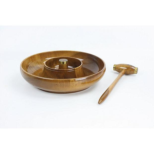 Mid-Century Mod Nut Cracker Bowl in Oregon Myrtle - Image 3 of 6