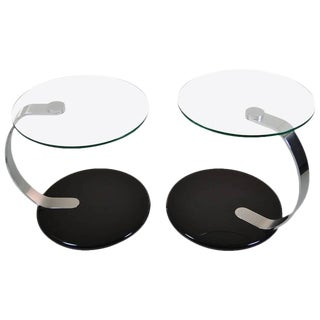 Modernist Chrome and Glass Tables - A Pair
