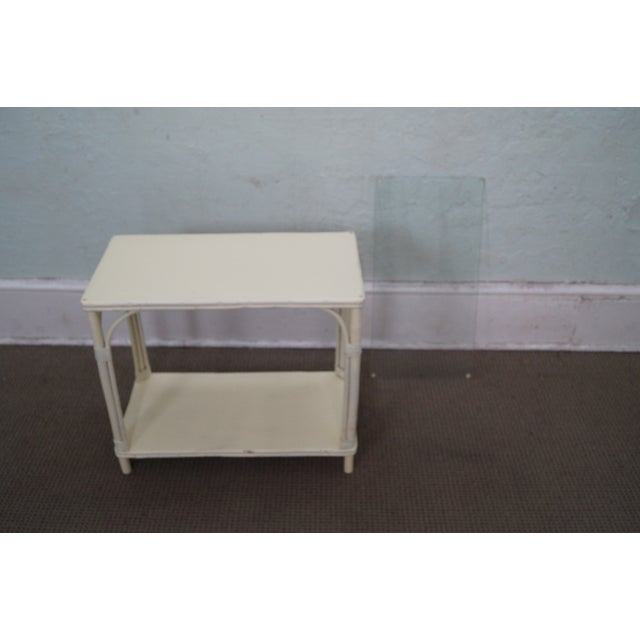 Image of White Split Reed Bamboo Side Table