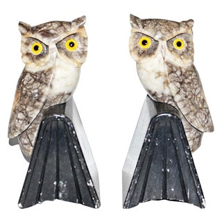 Alabaster Owl Bookends - Pair