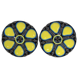 St. Jean De Monts French Oyster Plates - Pair