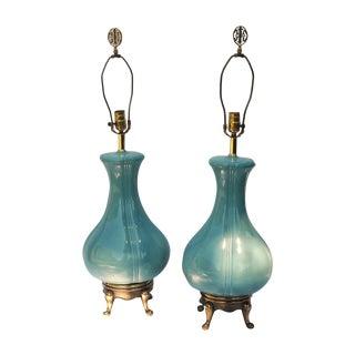 Hollywood Regency Sky Blue Vase Lamps- A Pair