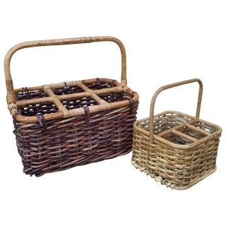 Rustic Wine & Utensils Baskets - a Pair