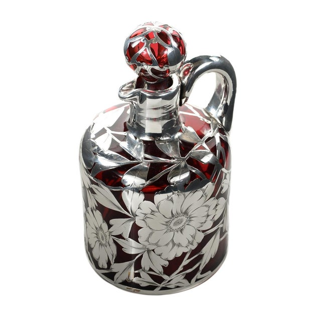 Image of Antique Art Nouveau Silver Overlay Ruby Decanter