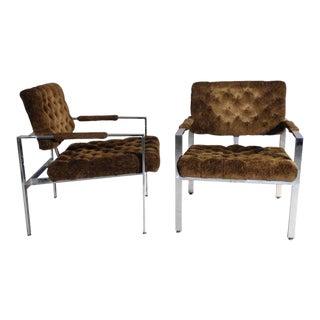 Pair of Milo Baughman Chrome Frame Chairs