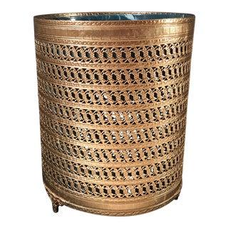 Vintage Hollywood Regency Gold Trash Container