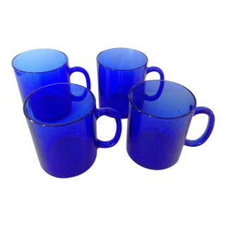 Blue French Coffee Mugs, Set of 4