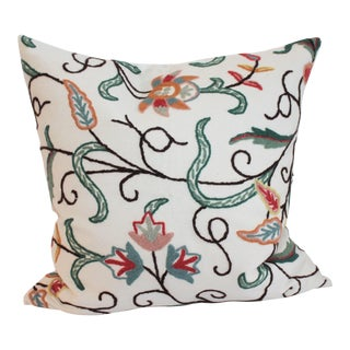 Crewelwork Embroidered White Pillow